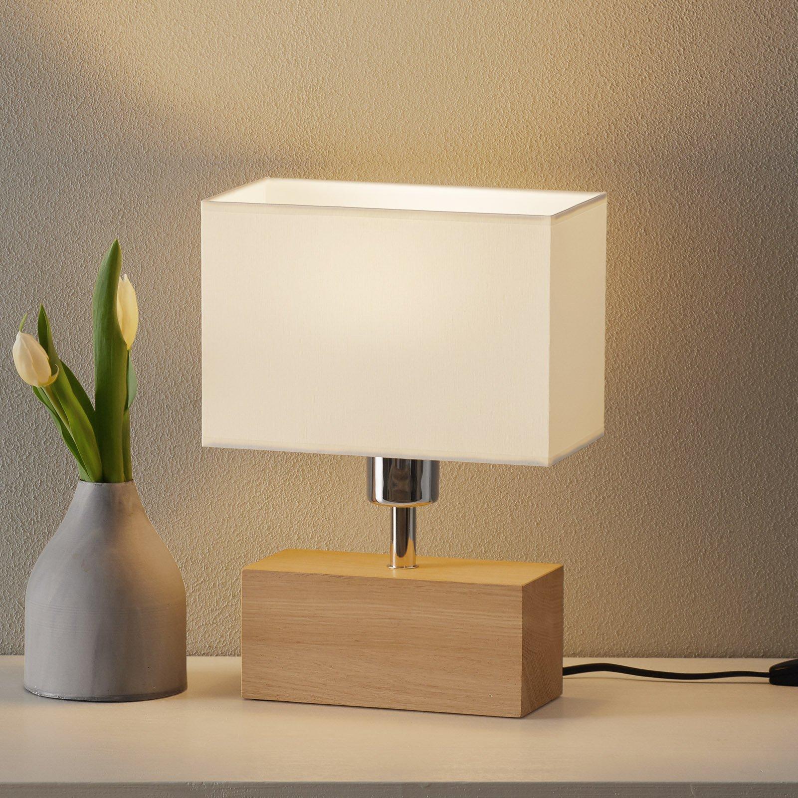 Bordlampe Theo, skjerm hvit, fot eik oljet