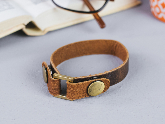 Leather Bracelet Small Brown