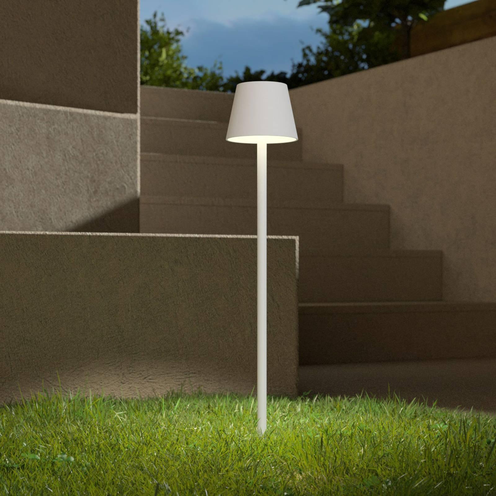 LED-lampe med jordspyd Poldina batteri hvit 85cm