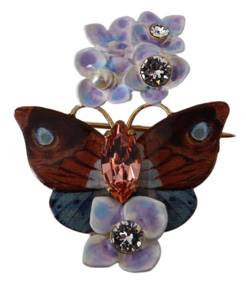 Dolce & Gabbana Women's Plated Brass Crystal Butterfly Flower Brooch Purple SMY100130
