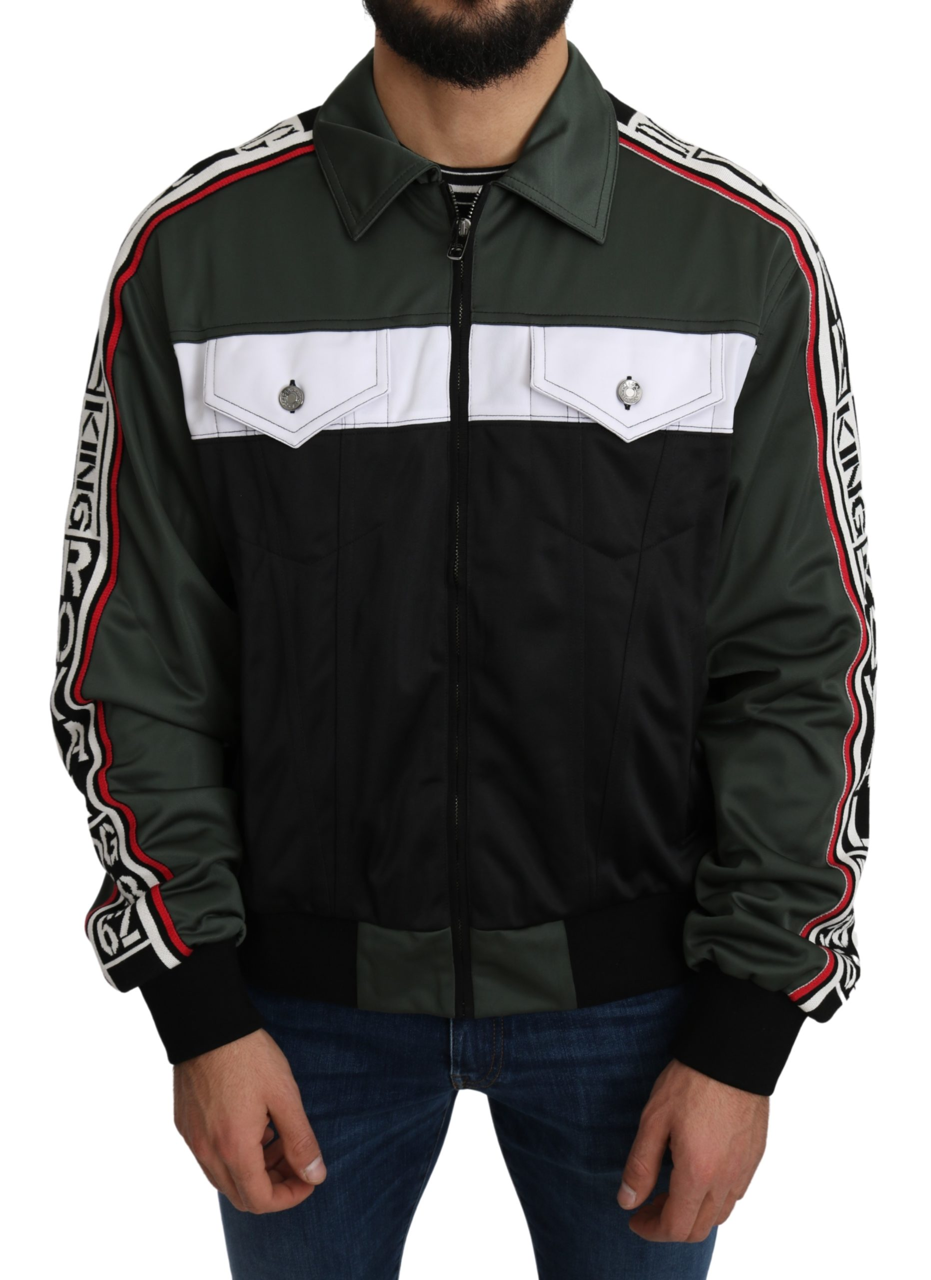 Dolce & Gabbana Men's DG KING Logo Stripe Jacket Green JKT2645 - IT50   L