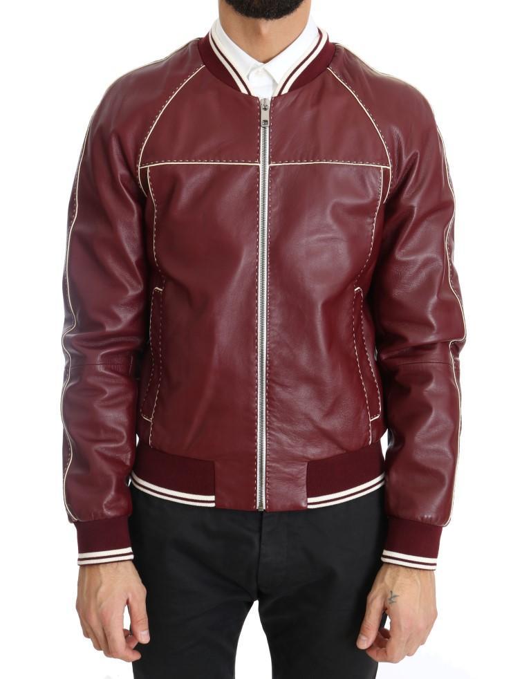 Dolce & Gabbana Men's Lambskin Bomber Stitched Jacket Bordeaux JKT1077 - IT44   XS