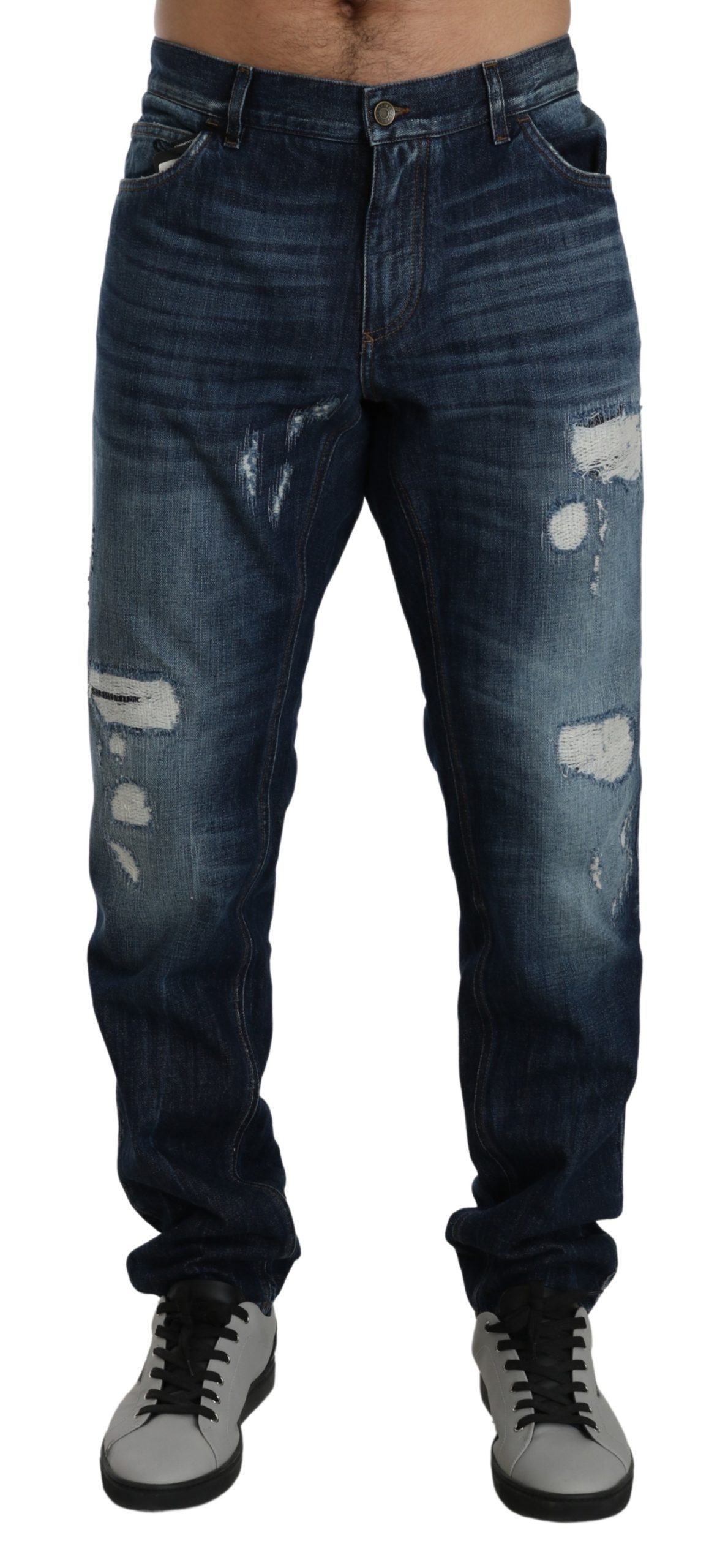 Dolce & Gabbana Men's Ripped Classic Denim Cotton Jeans Blue PAN71414 - IT56 | XXL
