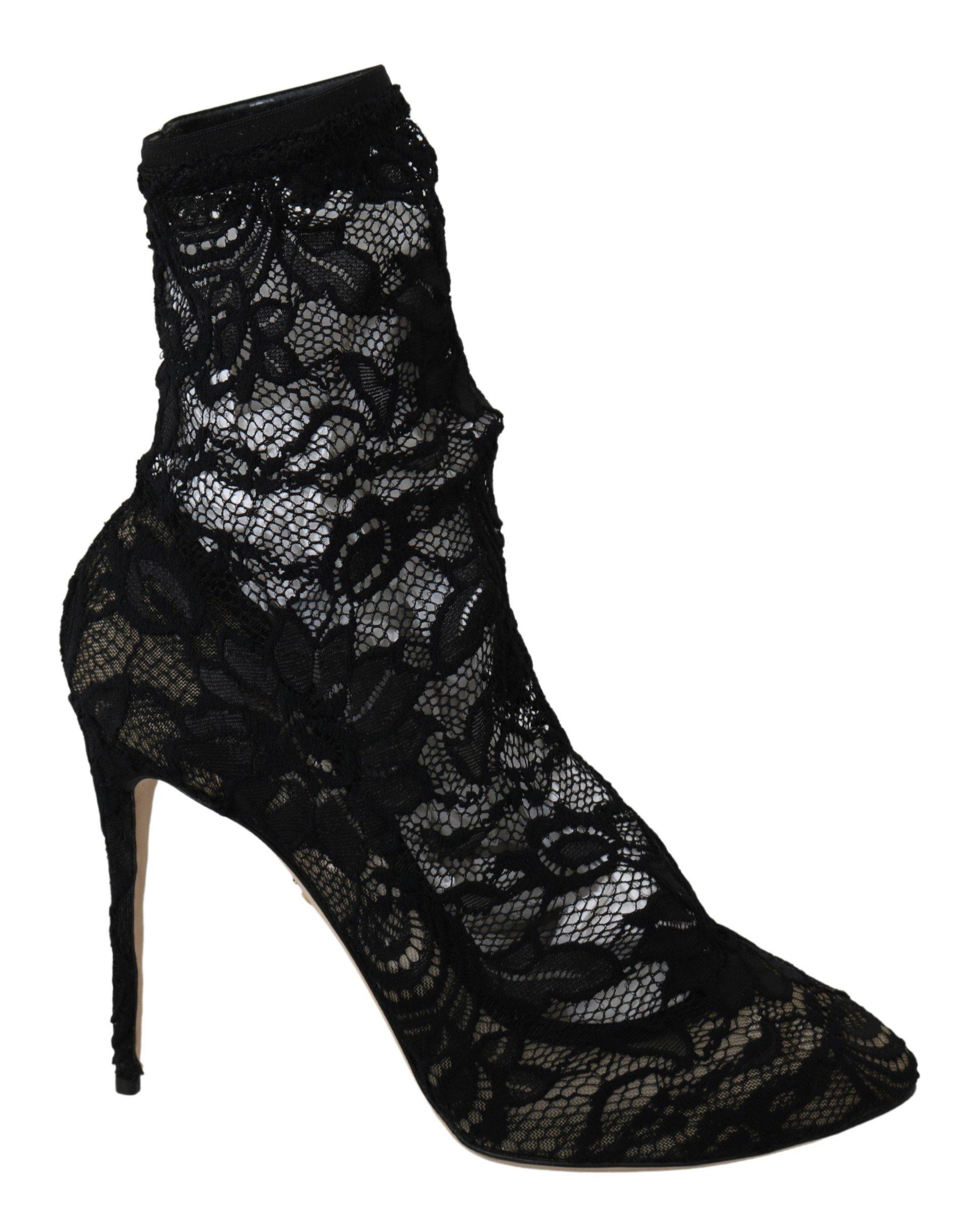 Dolce & Gabbana Women's Lace Taormina High Heel Pumps Black LA6956 - EU40/US9.5