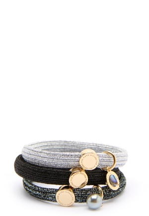 The Marc Jacobs The Medallion Abalone Elastics 002 Black Multi/Gold One size