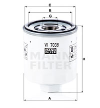 Öljynsuodatin MANN-FILTER W 7038