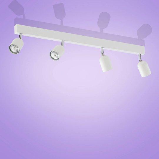 Top takspot, 4 lyskilder, lang, hvit