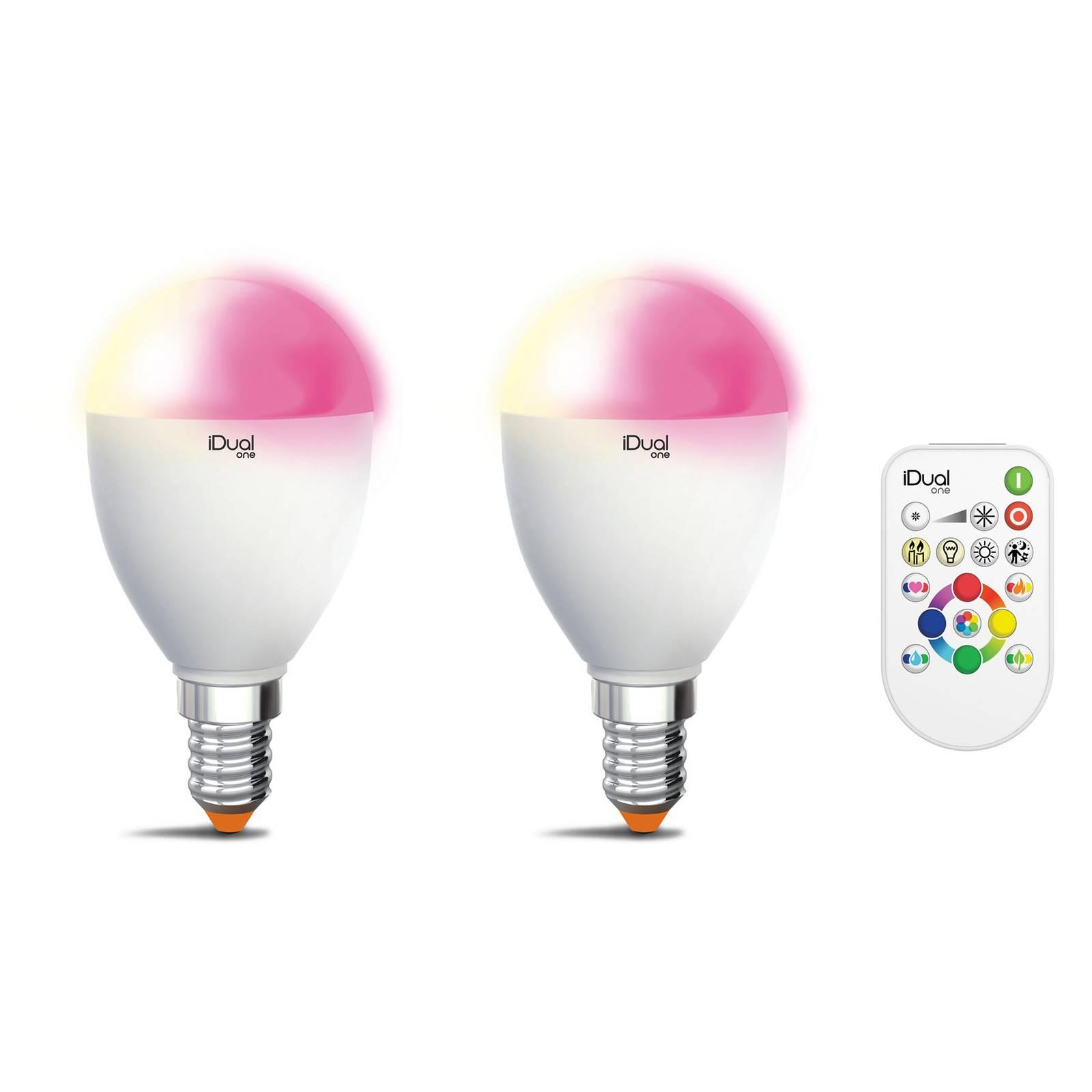 iDual One E14 5,3W RGBW 2 kpl, kaukosäädin