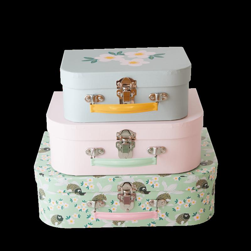 Rice - Cardboard Suitcase Set of 3 - Goldfish Print