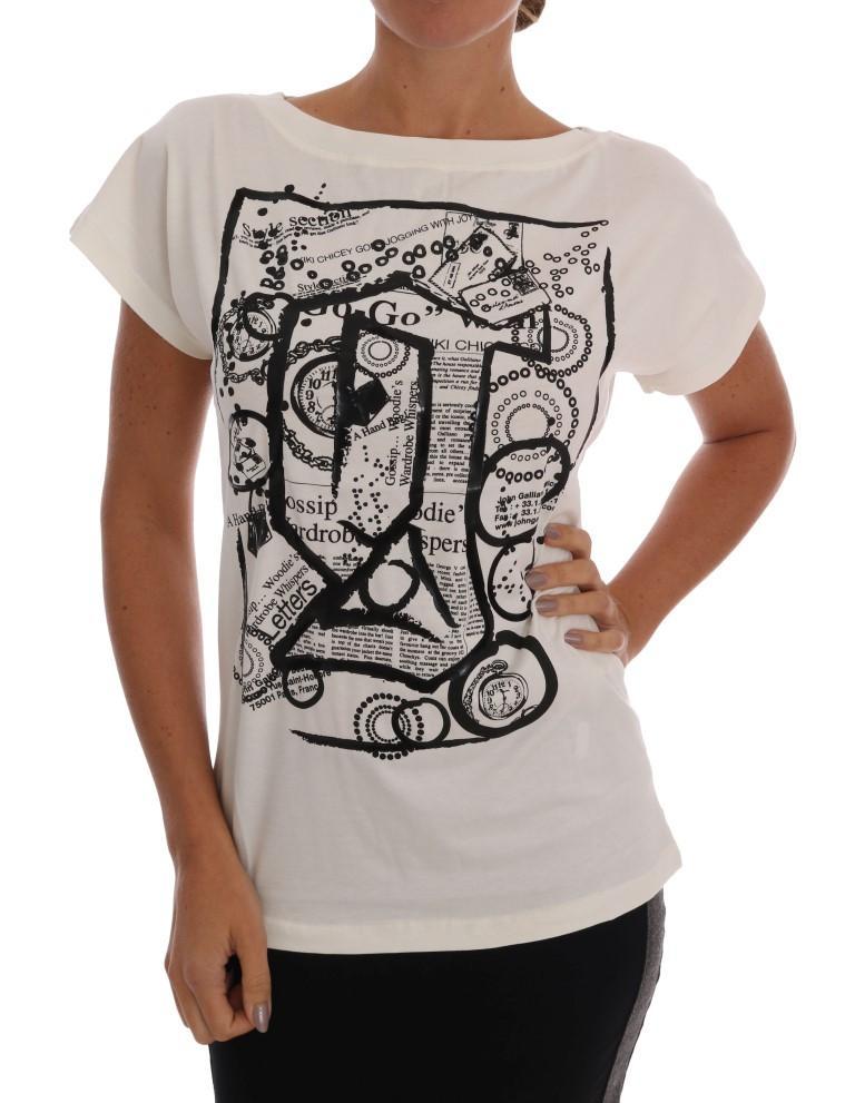 John Galliano Women's Cotton Stretch Motive Print T-Shirt White SIG60531 - XS