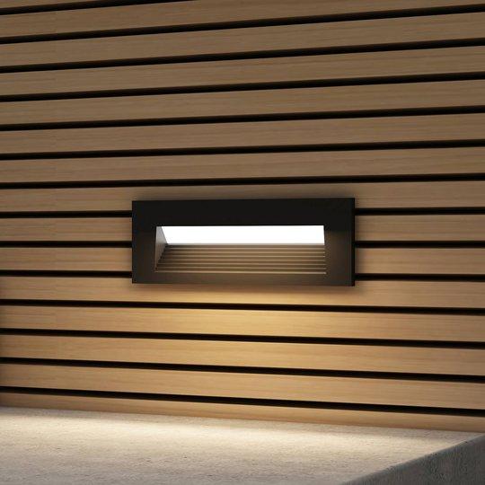 Arcchio Javis-LED-innfellingslampe, riflet, svart