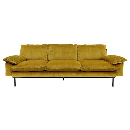 Retro Sofa Fløyel 4-seter Gul/Oransje