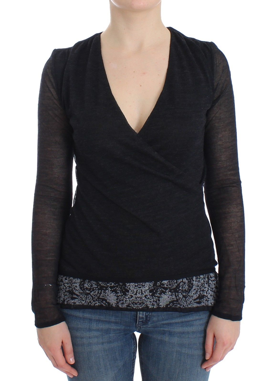 Ermanno Scervino Women's Stretch Long Sleeve Sweater Black SIG12583 - IT44   M