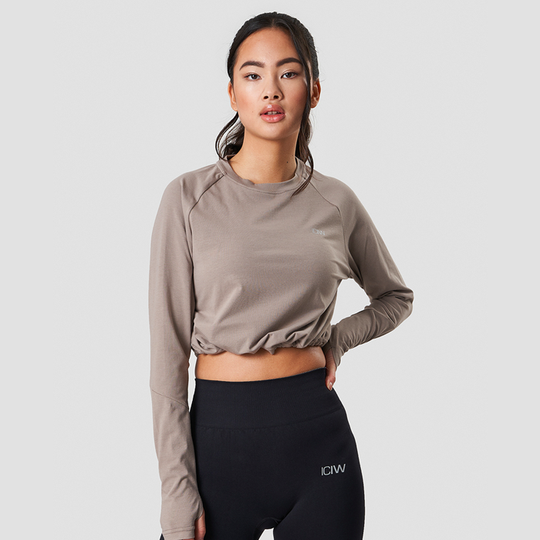 Define Cropped Adjustable Long Sleeve, Taupe