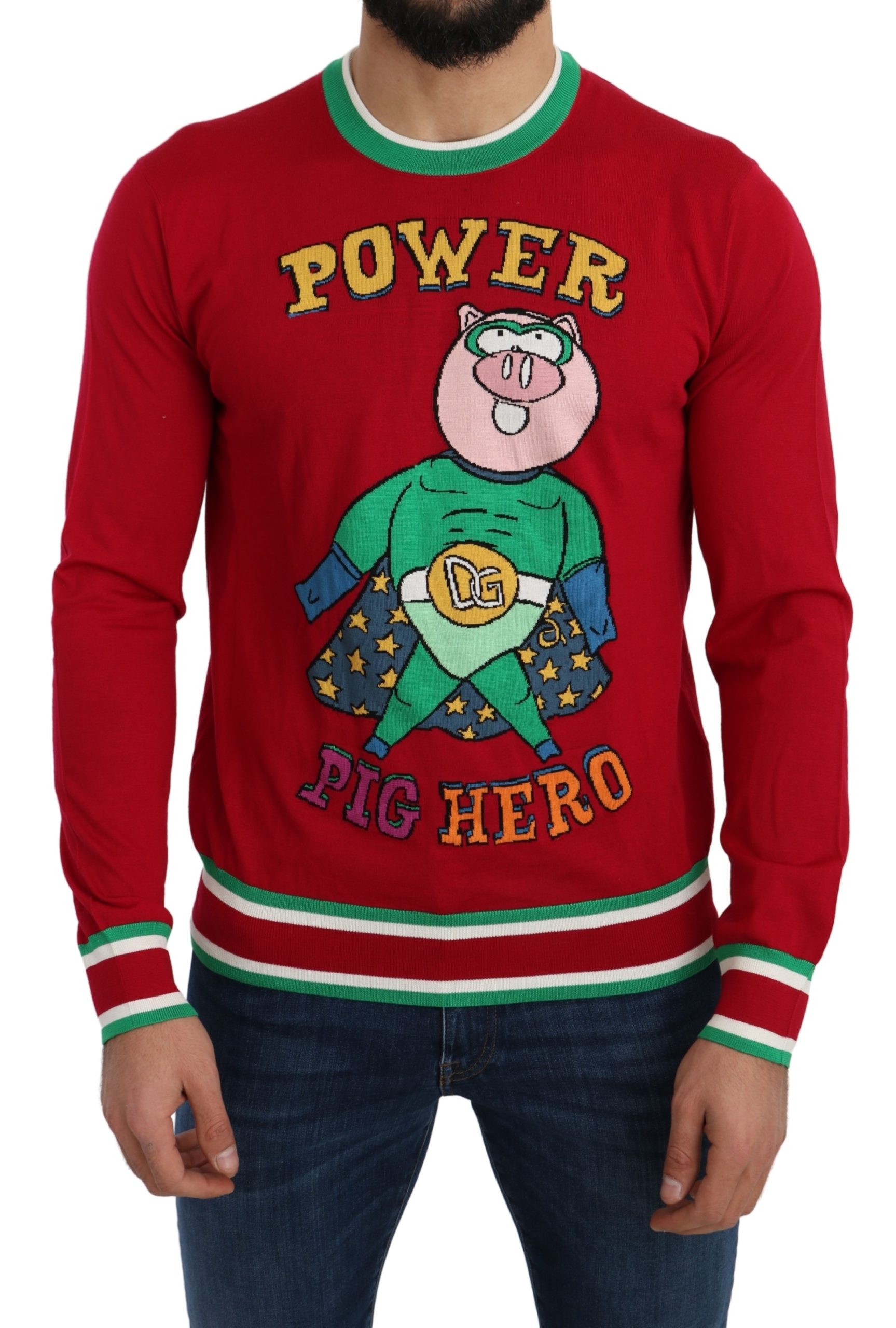 Dolce & Gabbana Men's Wool Silk Pig of the Year Sweater Red TSH5219 - IT46 | S