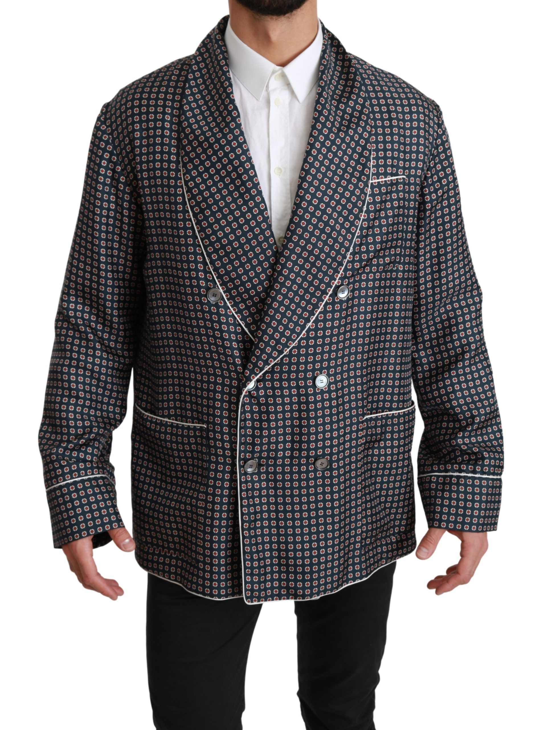 Dolce & Gabbana Men's Patterned Double Breasted Coat Blue JKT2589 - IT4 | L