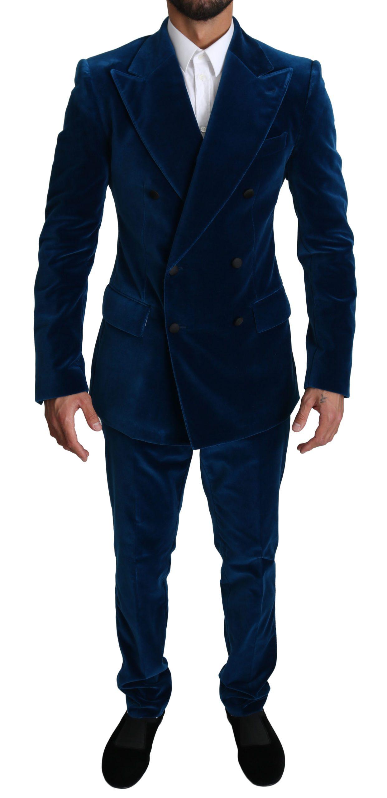 Dolce & Gabbana Men's Velvet Double Breasted 2 Piece Suit Blue KOS1520 - IT48 | M