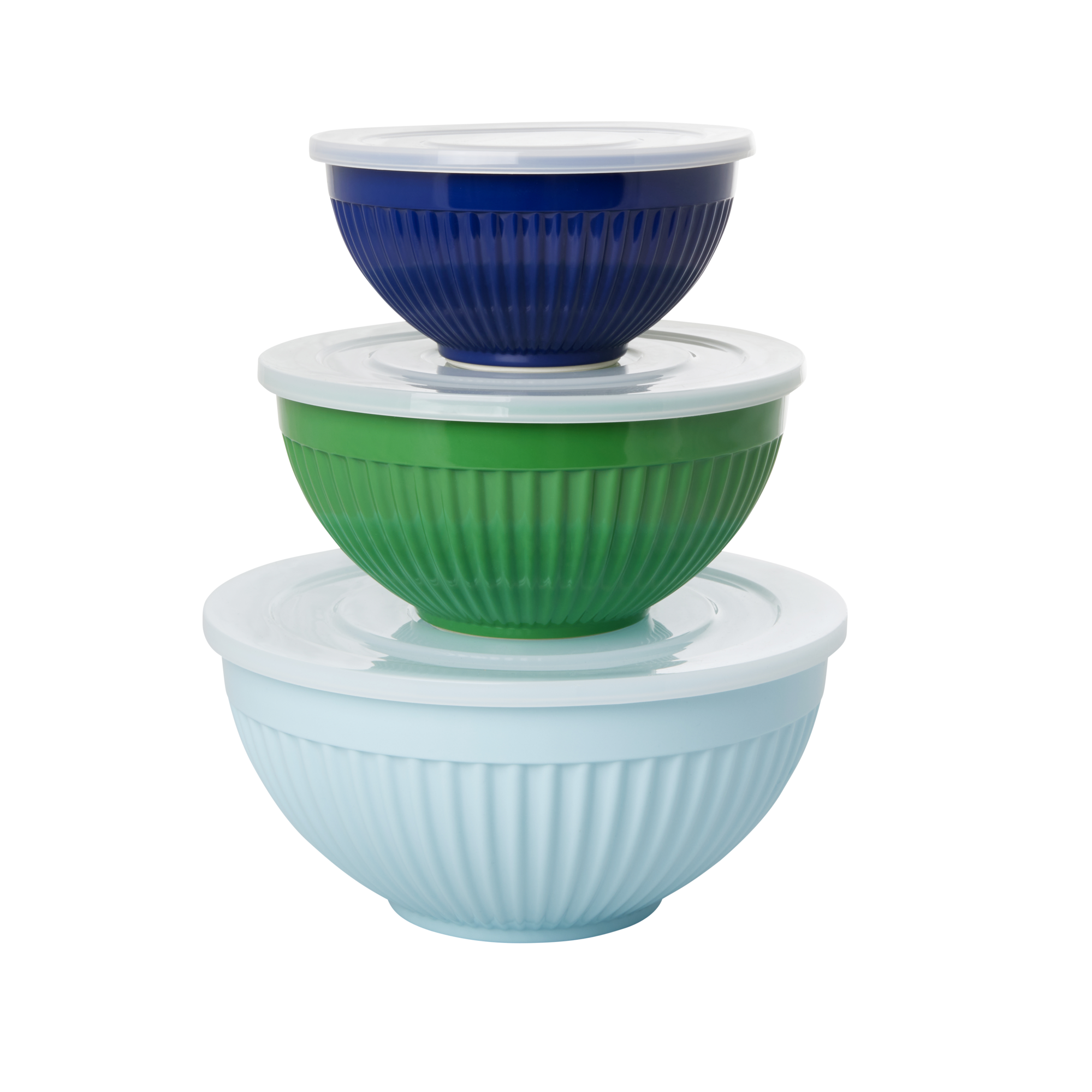 Rice - Melamine Bowls with Lid 3 pcs - Favorite Blue and Green Colors