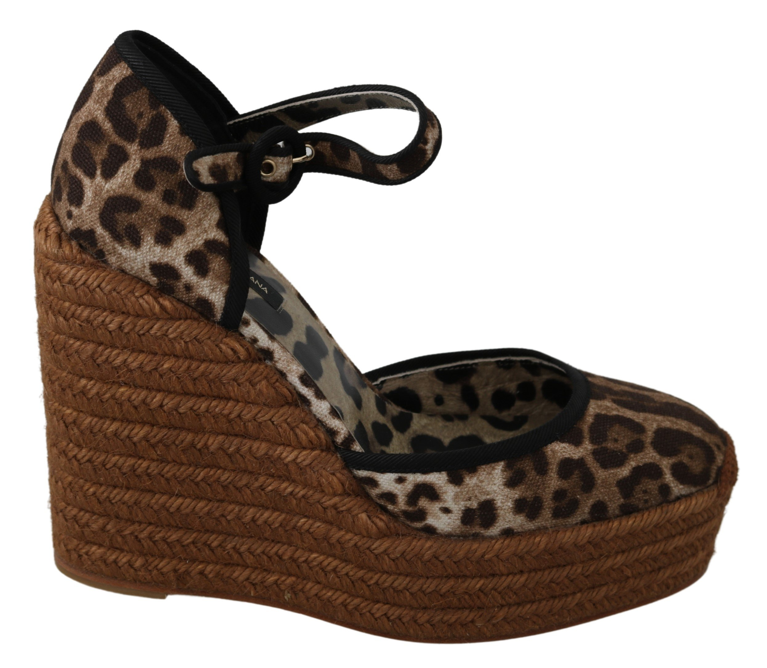 Dolce & Gabbana Women's Leopard Ankle Strap Sandal Brown LA7255 - EU39/US8.5