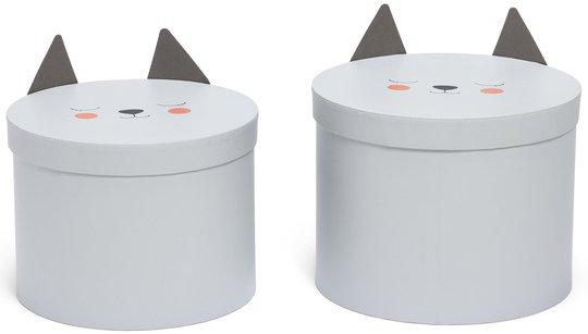 Alice & Fox Oppbevaringsbokser 2-pack Katt, Hvit