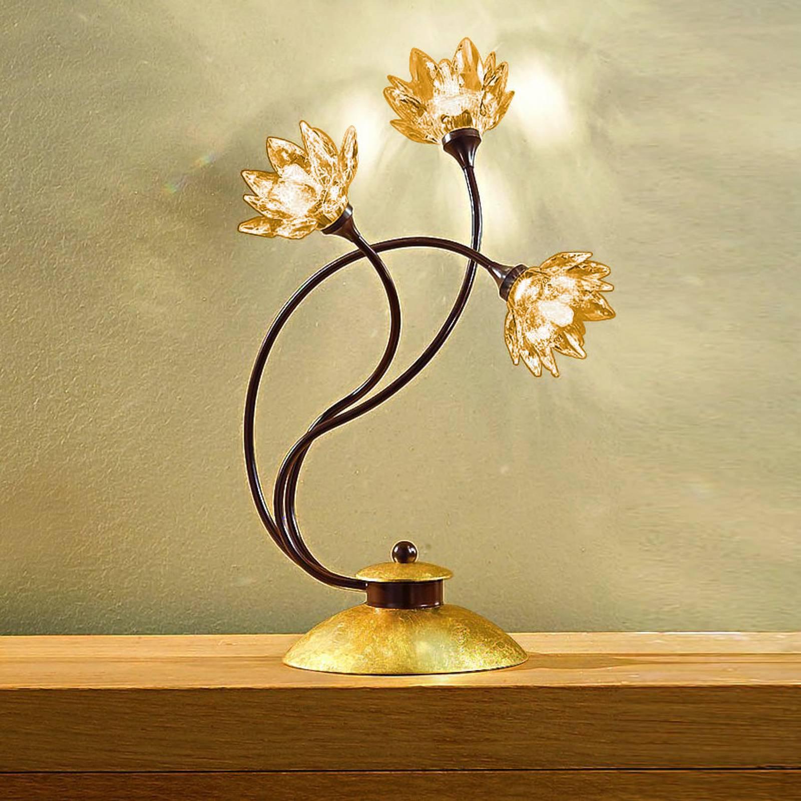 Fiorella bordlampe med ambrafargede krystaller