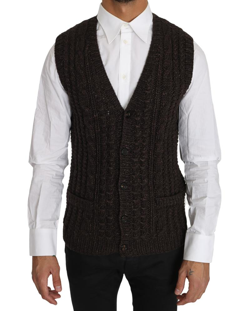 Dolce & Gabbana Men's Knitted Wool Vest Cardigan Brown TSH2744 - IT48   M
