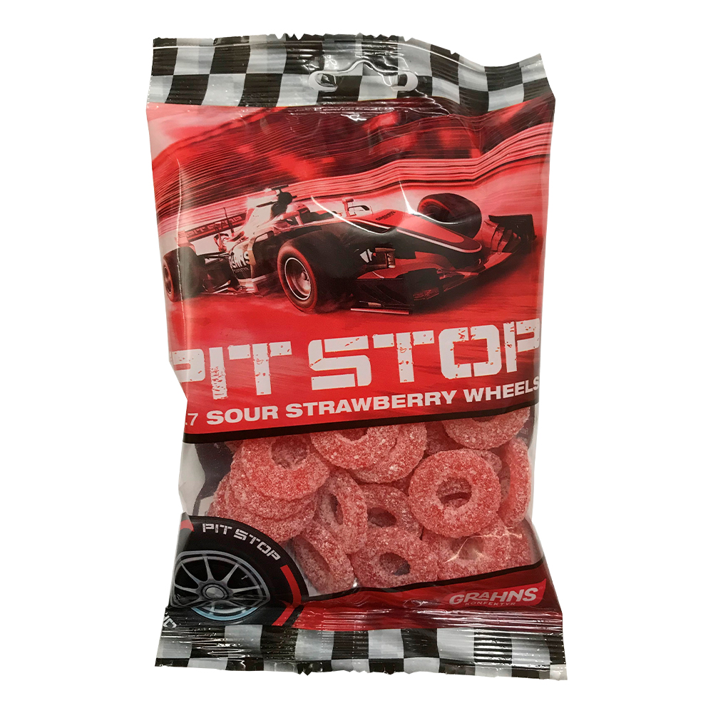 Pit Stop Sour Strawberry Wheels - 160 g