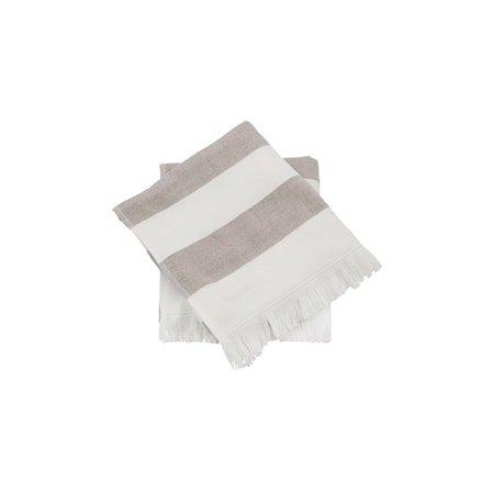 Håndkle 30x30 cm Hvit med Grå streker