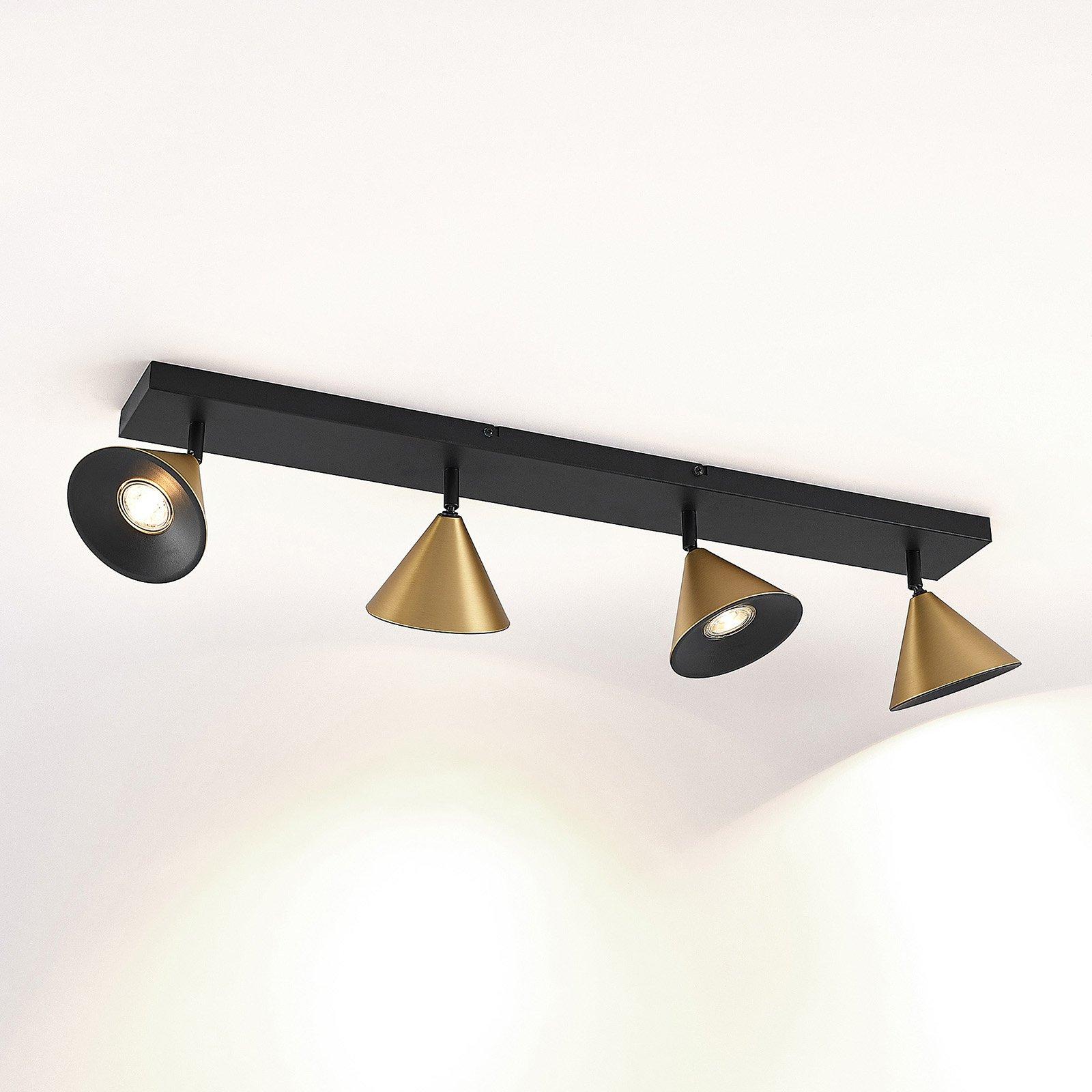 Lucande Kartio taklampe, 4 lys, dreibar, messing