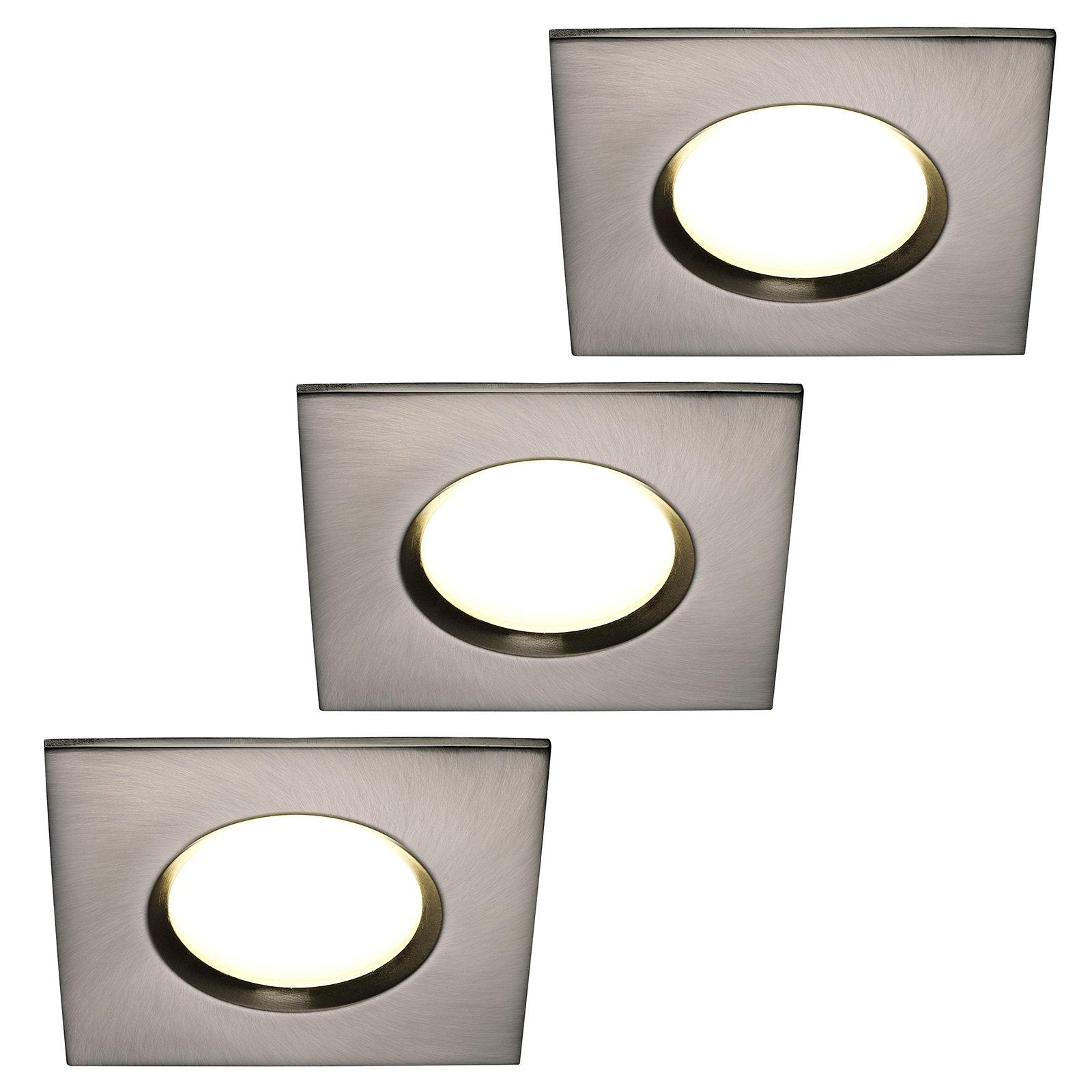 LED-downlight Clarkson 3-er-sett, kantet, stål