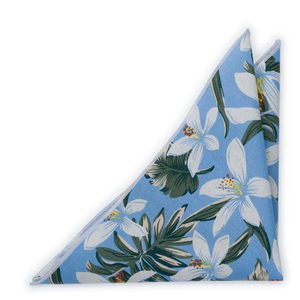 Bomull Lommetørkler, Hvite og grønne Hawaii-blomster på lyseblått, Blå, Blomster