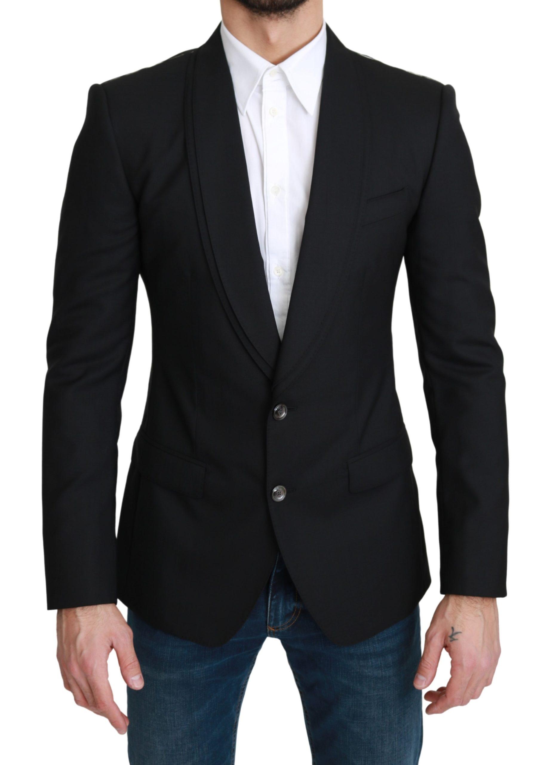 Dolce & Gabbana Men's Single Breasted Formal Wool Blazer Black KOS1755 - IT46 | S