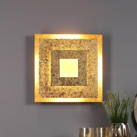 LED-vegglampe Window 32x32 cm, gull
