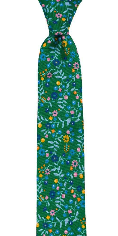 Silke Smale Slips, Små, flerfargede blomster på smaragdgrønt, Grønn, Blomster