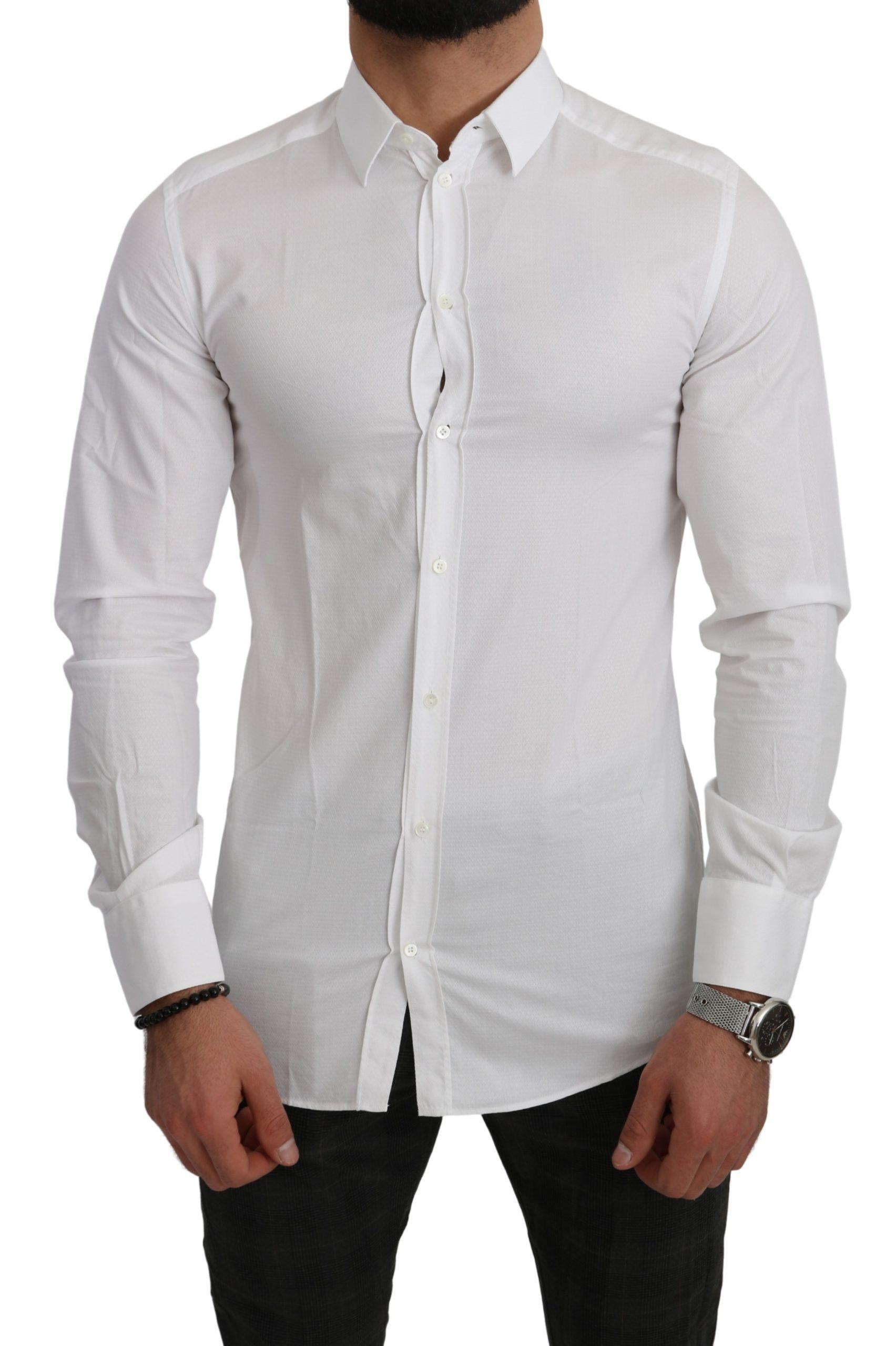 Dolce & Gabbana Men's Cotton Solid Dress Formal Shirt White TSH5029 - IT39 | S