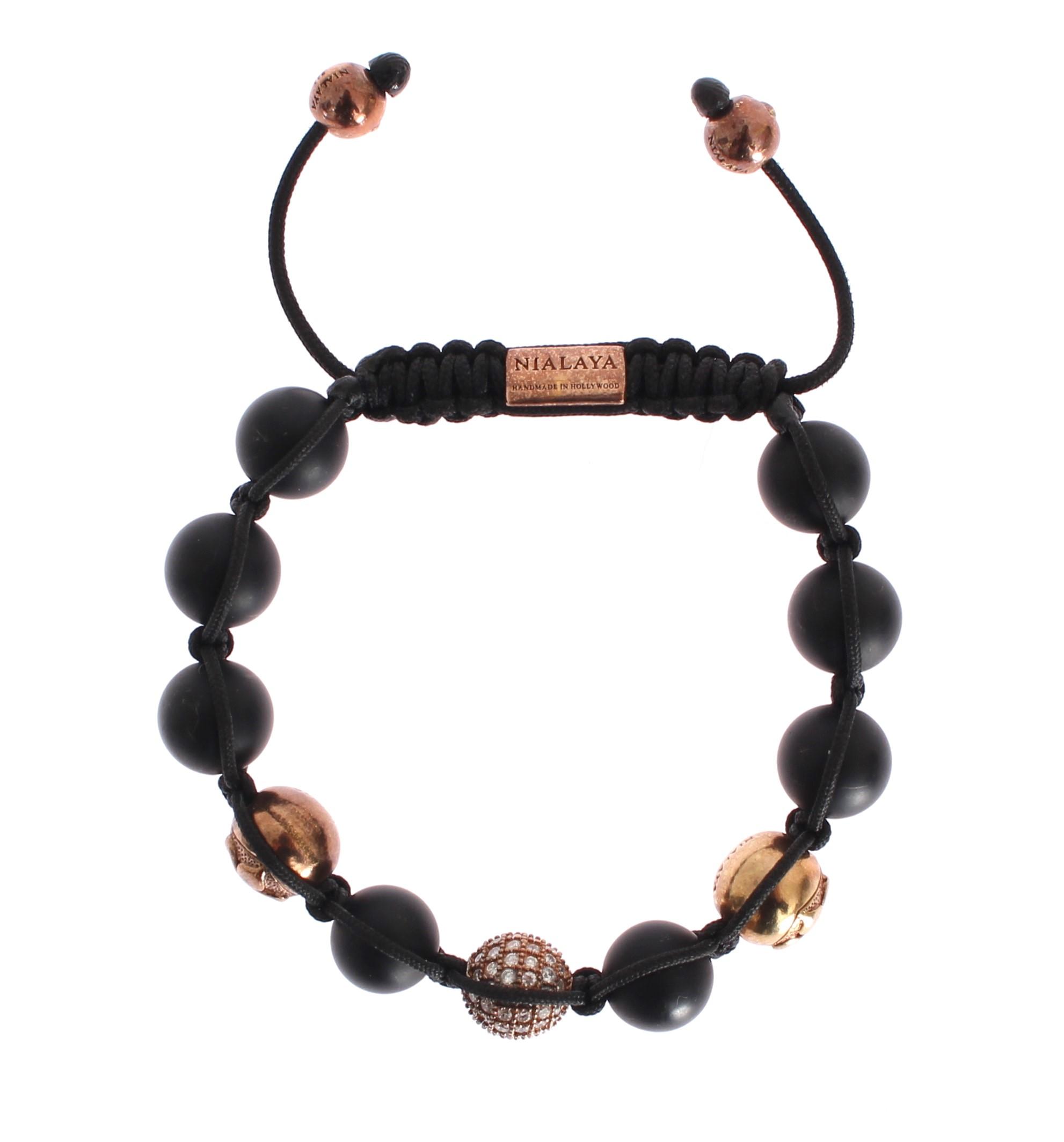 CZ Onyx Pink Gold 925 Bracelet - M