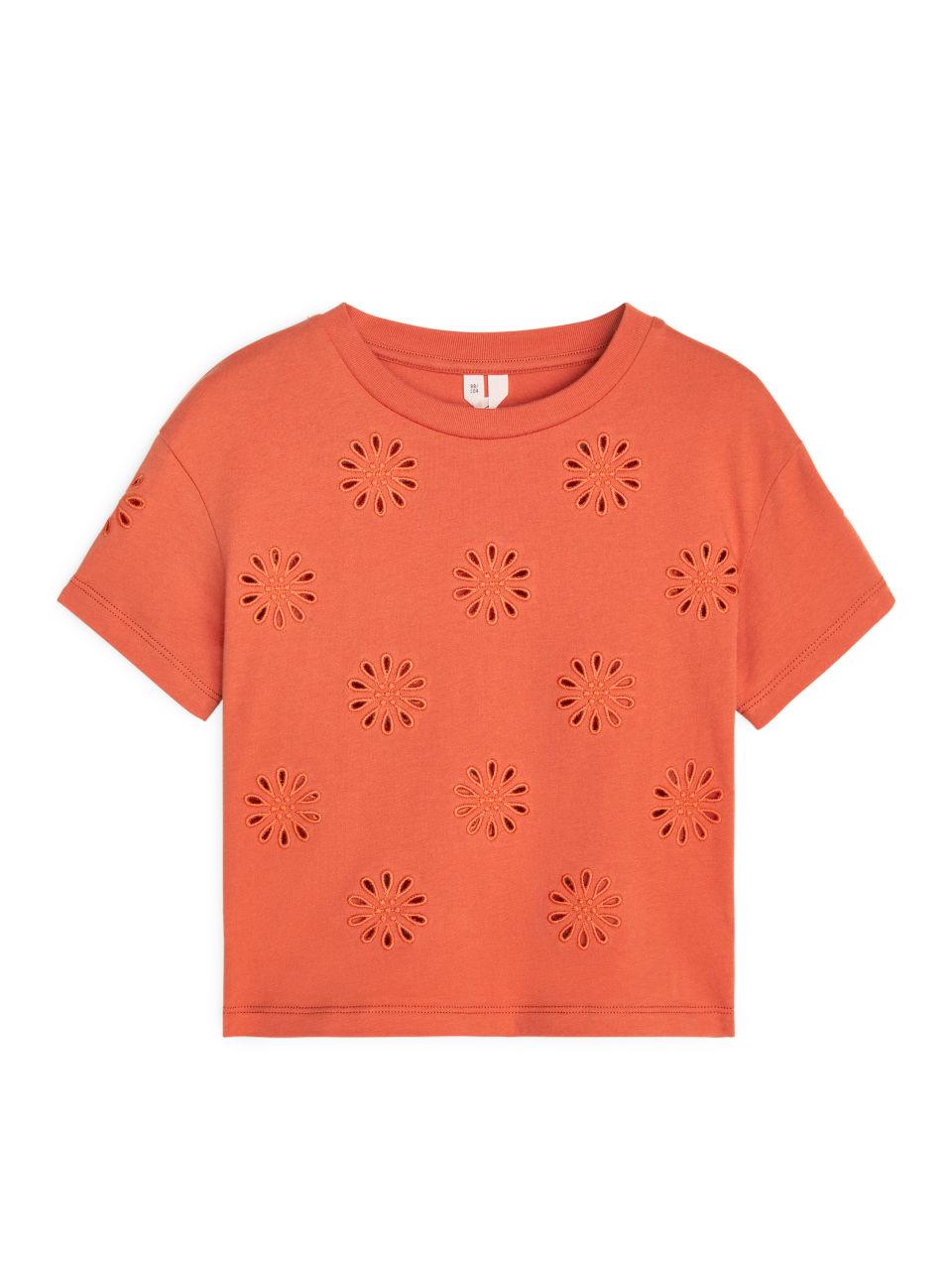Embroidered T-Shirt - Orange