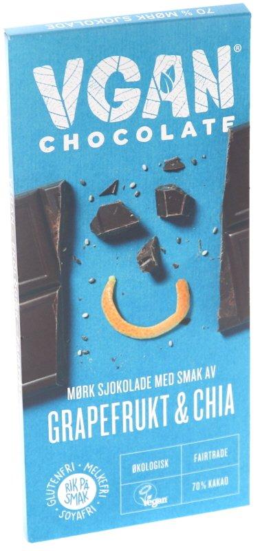 Eko Mörk Choklad 70% Grapefrukt & Chiafrön - 36% rabatt