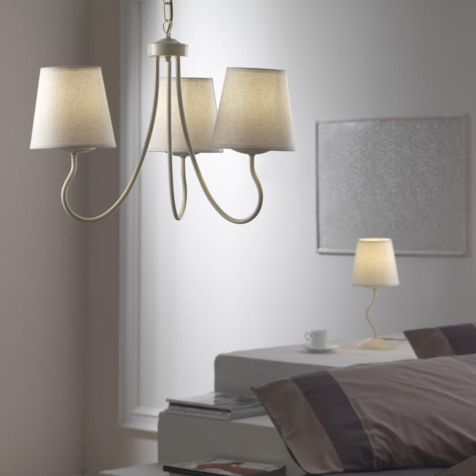 Bordlampe Margot med hvit tekstilskjerm