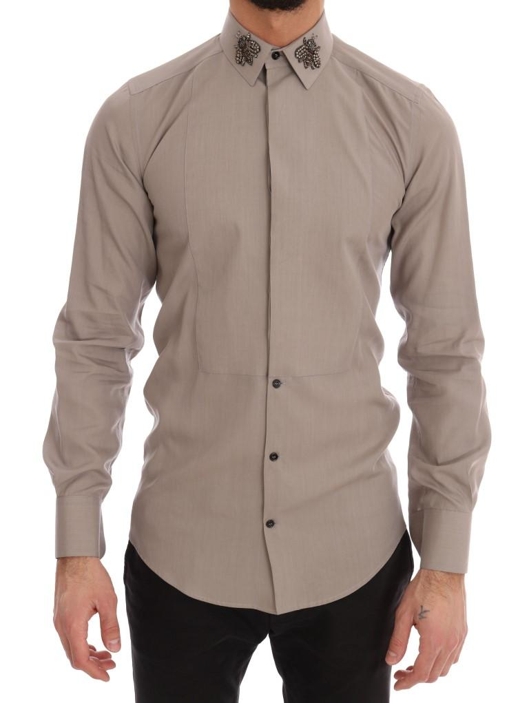 Dolce & Gabbana Men's Crystal Bee GOLD SLIM Fit Shirt Beige TSH1810 - 37