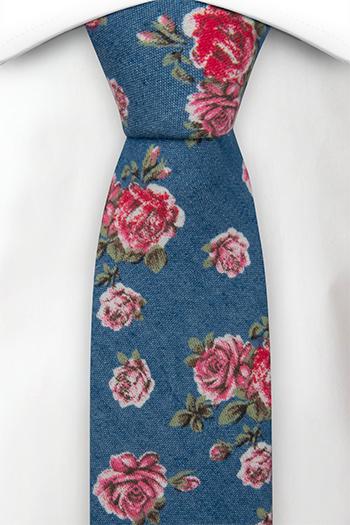 Bomull Smale Slips, Denimblått med røde og rosa roser, Blå, Blomster