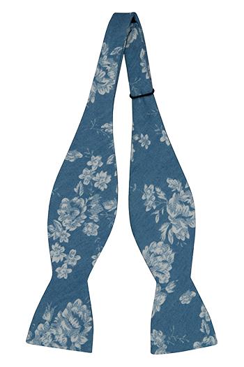 Bomull Sløyfer Uknyttede, Blå denim med store hvite blomster, Blå, Blomster