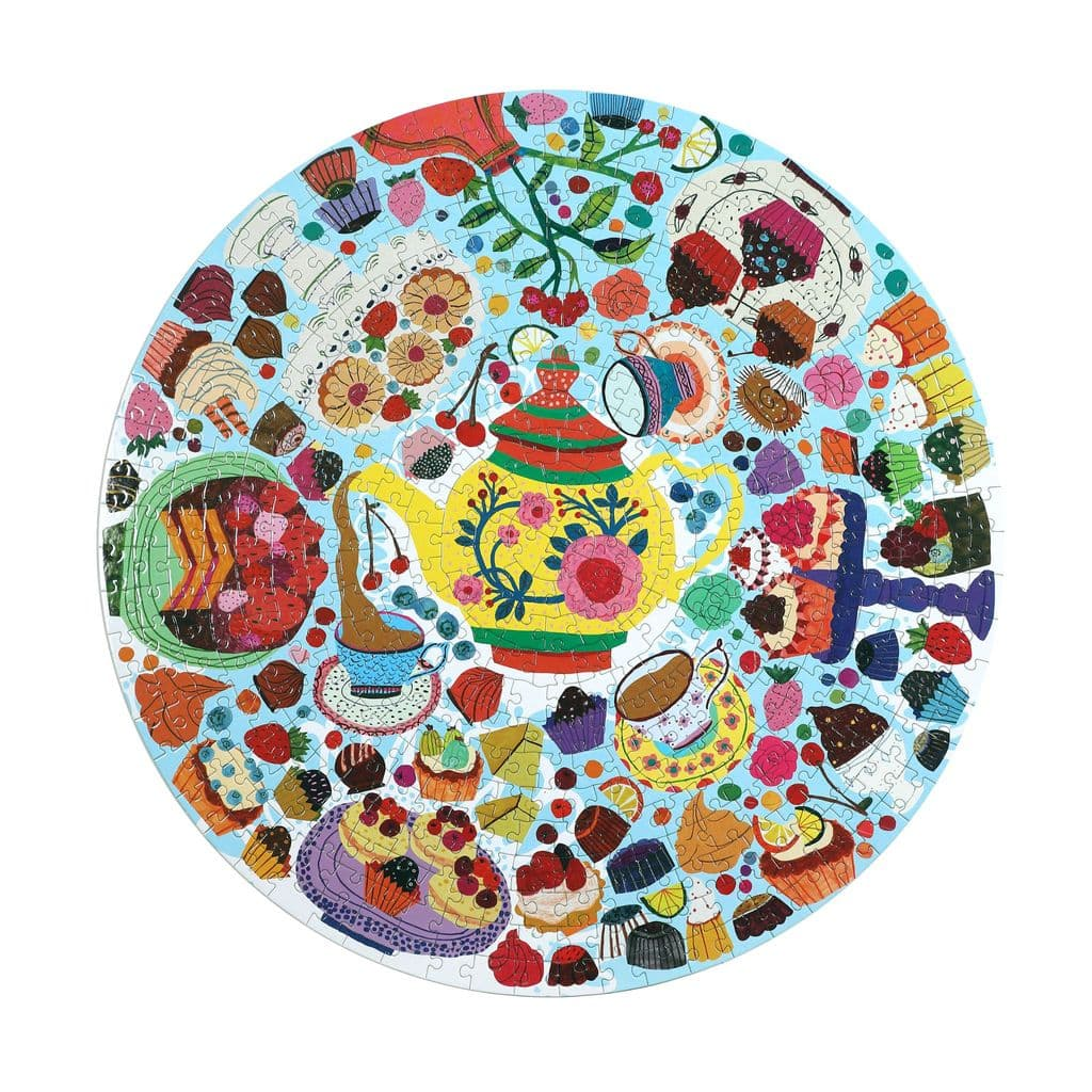 eeboo - Round Puzzle - Tea Party, 500 pc (EPZFTEA)