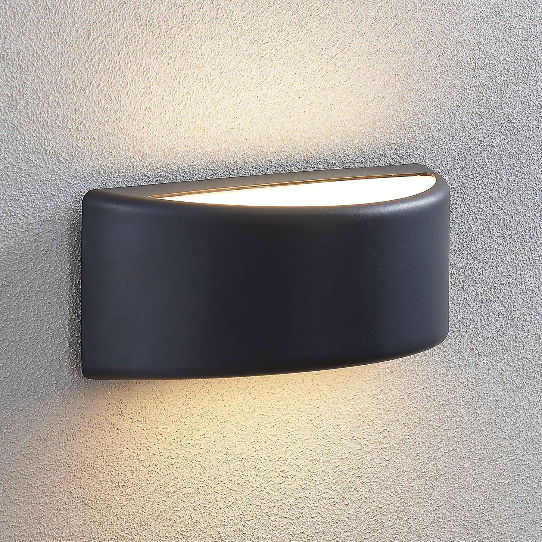 LED-ulkoseinälamppu Alaiza, IP65, puolipyöreä