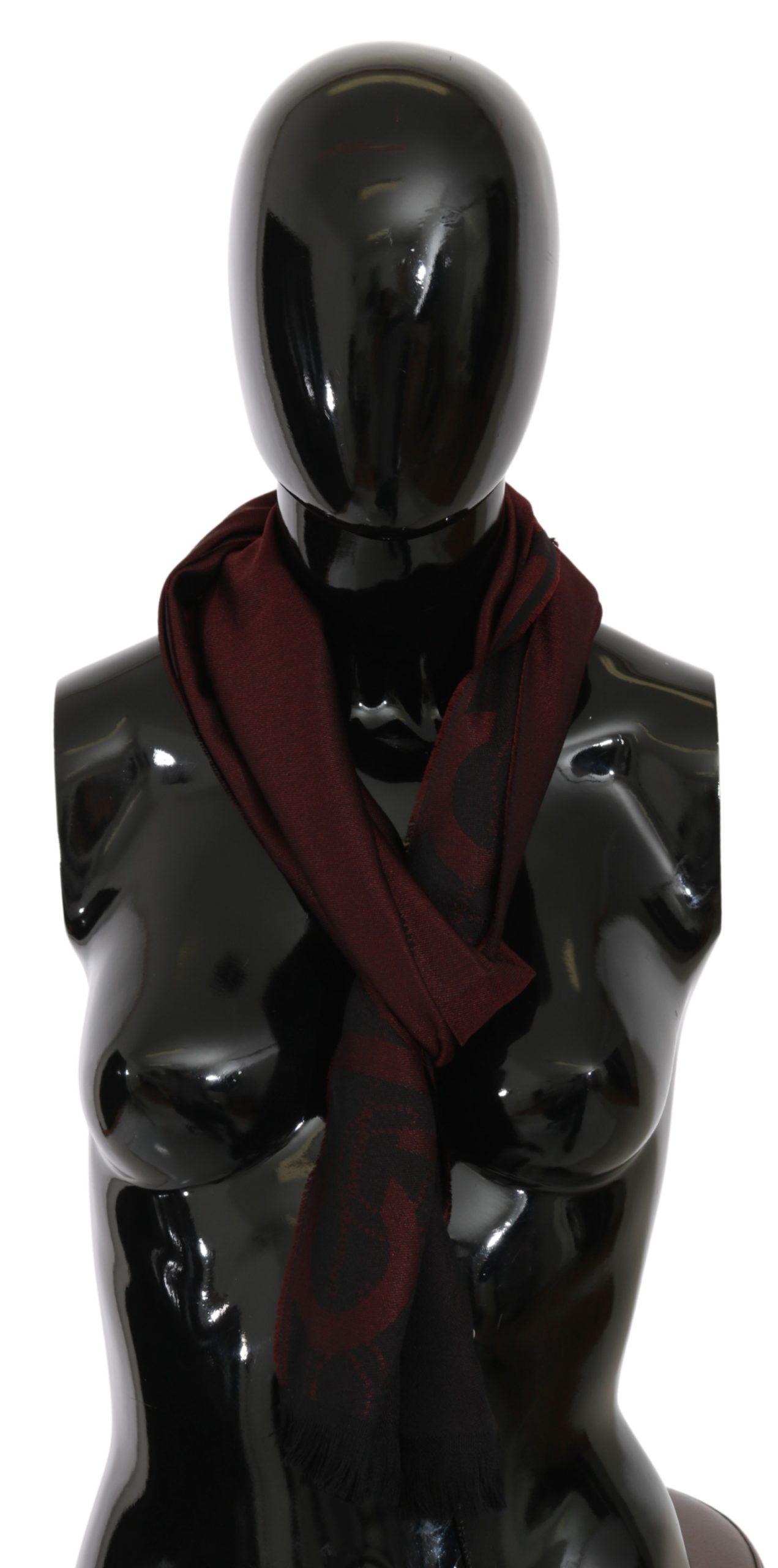 Costume National Women's Wool Silk Fringe Wrap Scarf Bordeaux MS1556