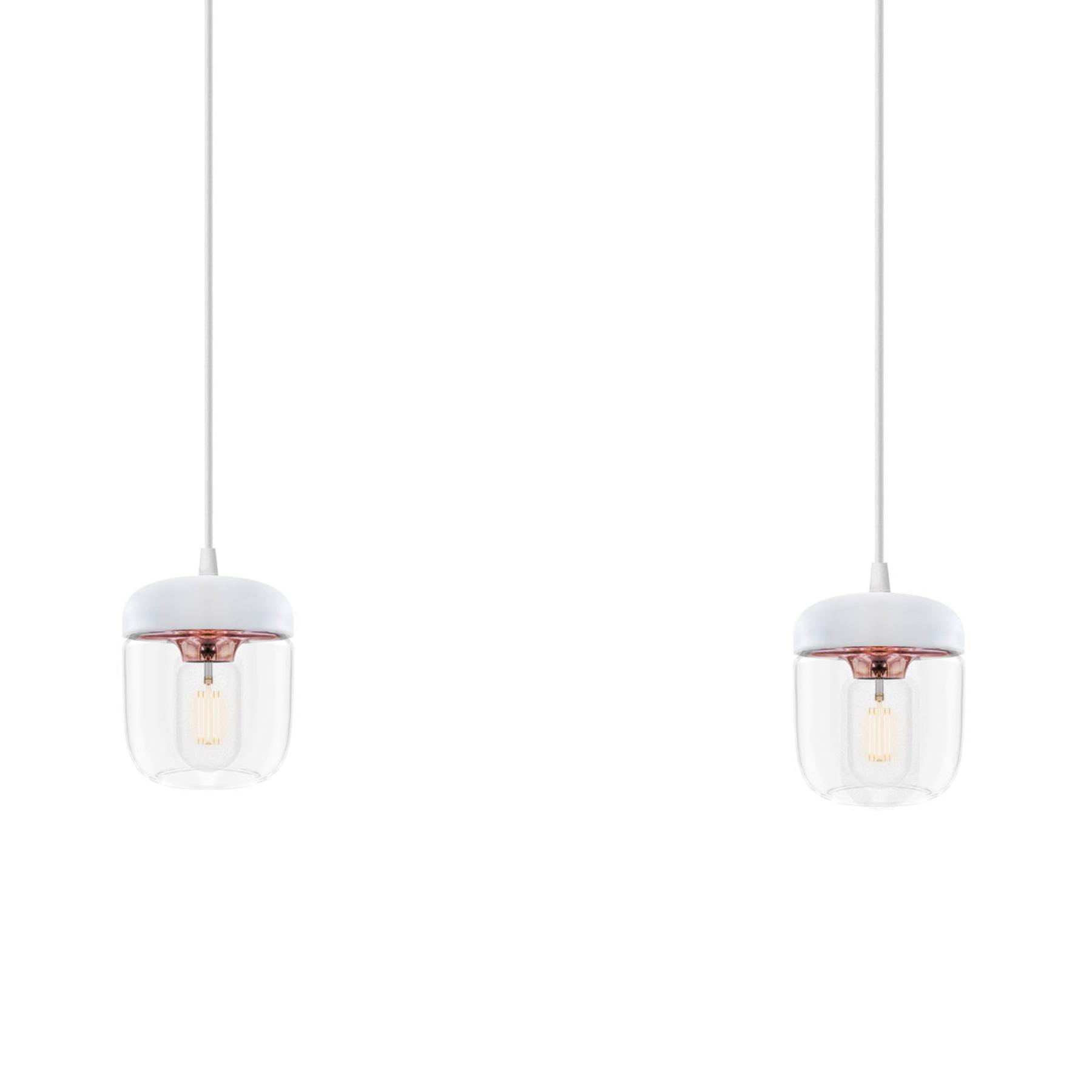Riippuvalaisin Acorn, 2 lamppua, valkoinen, kupari