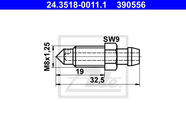 Huohottimen pultti / venttiili ATE 24.3518-0011.1