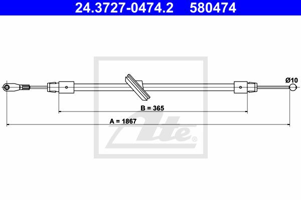 Käsijarruvaijeri ATE 24.3727-0474.2