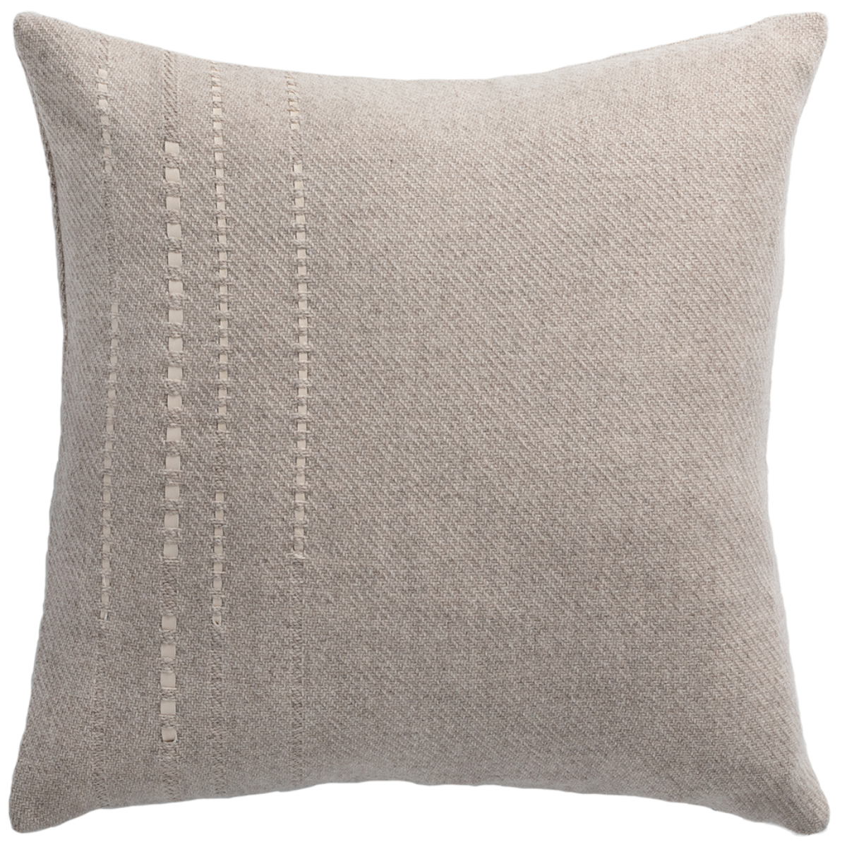 de Le Cuona | Cashmere Wool Twill Cushion With Vertical Detail Taupe