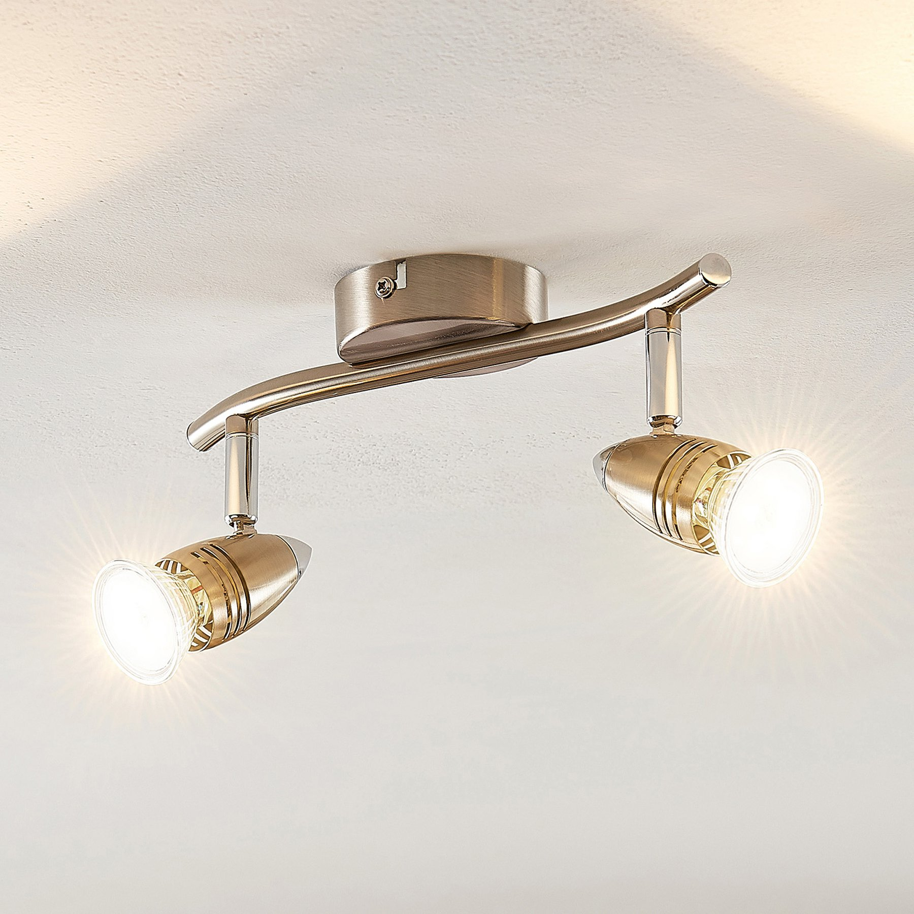 ELC Kalean LED-takspot, nikkel, 2 lyskilder